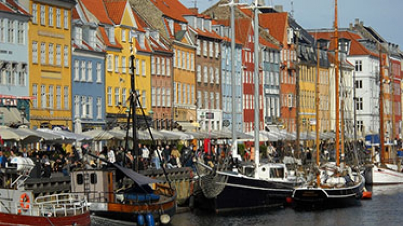 Canal and cafes in Copenhagen.